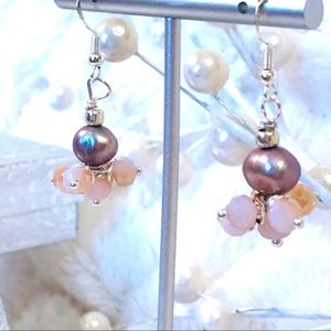 Frontrow.style Jewelry - Sterling Silver Earrings Pink Baroque Pearl 🌟